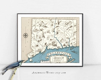 CONNECTICUT MAP PRINT - size & color choices - personalize it - vintage map print - perfect gift idea for many occasions - lovely home decor