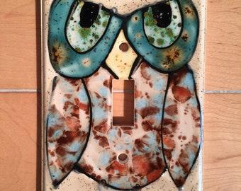Ceramic Crystal Glazed Single Switch Plate Owl