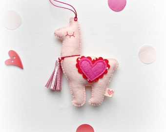 Valentines Love Llama Alpaca Hanging Ornament Decoration blush pink, hot pink, red