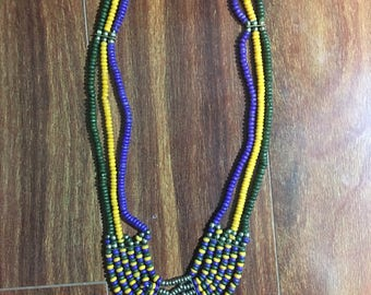 Vintage Multi-Strand Wooden Bead Necklace