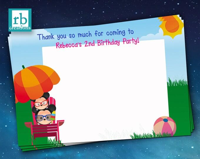Tsum Tsum Swim Party, Birthday Thank You Notes, Tsum Tsum Pool Birthday, Tsum Tsum Printables - Digital Printable