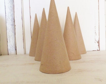"Paper Mache Cones 7"" ~ Set of 6 ~ Craft Supply ~ Holiday Decor ~ Ornaments ~ Kids Crafts"