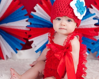 Newborn Baby Girl Hat Newborn Girl Hat Newborn Baby Hat Baby Girl Clothes Red White Blue Fourth of July 4th of July Flower Hat Flapper Hat