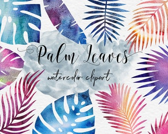 Galaxy Watercolor Palm Leaves ClipArt, Watercolor Leaf, Watercolor Space Clipart, Tropical Palm ClipArt, 11 PNG Separate Elements, BUY3FOR6