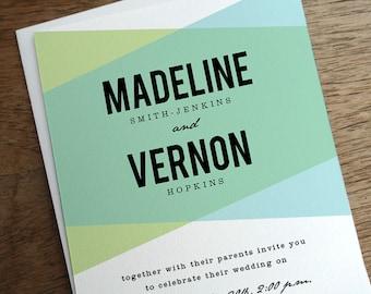 Printable Wedding Invitations -  Aqua & Turquoise Geometric Wedding Invite - Geometric Wedding Invitation - Instant Download - PDF Download