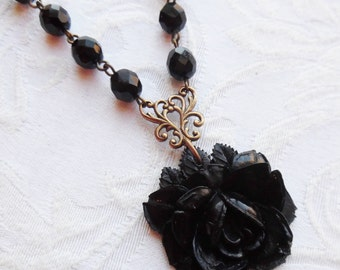 1/2 Price Sale, Midnight, Rose Flower Necklace