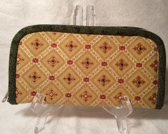 Zipper Wallet - Brown and green with beads