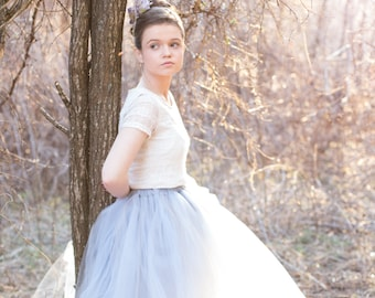 Dusty Blue - Flower Girl Tulle Skirt - Sewn long length tutu skirt - Made to order - Grey Blue  Weddings, Photography - Junior Bridesmaid