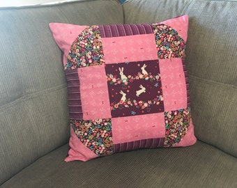 "18"" Monkey Wrench Purple and Pink Rabbit Cushion"