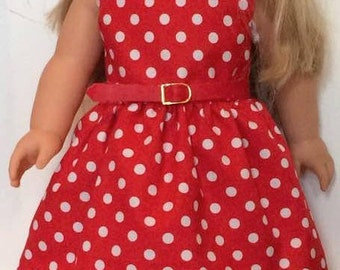 Pretty red and white polka dot dress to fit American girl doll & 18 inch dolls - Our generation