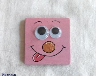 "Magnet ""Folichoux"" square pink, 3 clown - handmade"
