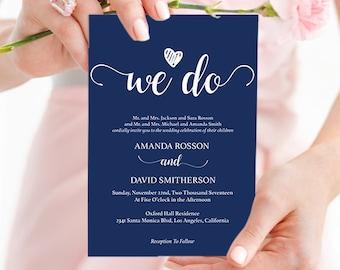 Navy blue wedding invites instant download - Navy Wedding Invitations - Downloadable wedding invitations PDF Instant Download #WDHOO10
