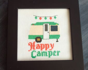 Happy Camper Cross Stitch, PRINTED PATTERN, Retro Camping, Camper Decor, Camping Cross Stitch, Caravan Embroidery, Cross Stitch Trailer