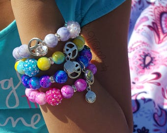 Colorful Girls Bracelets, Lil Diva, Princess Bracelets, Party Favors, Flower Girl Jewelry, Girls Gifts, Handmade Custom Beaded Jewelry