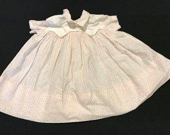 Vintage White with Coral ABC Print Baby Dress