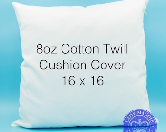 White Cotton Twill Pillow Cover Blank 16x16 - Solid White Blank Cushion Cover - Crafters HTV Applique Rhinestones Stencil Ready to Decorate
