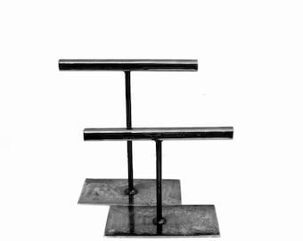 Natural Steel Metal Display Pair - Short and Tall
