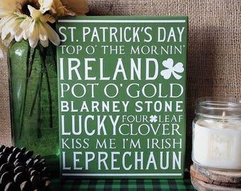 Saint Patricks Day Sign, St Patricks Day Decor, Rustic Wood Sign, Rustic Country Decor, Irish Decor, St Patricks Decoration, Word Collage