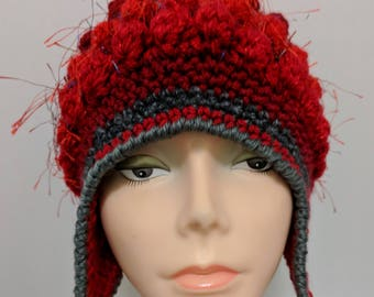 Freeform Freestyle Crochet Helmet Hat with Earflaps