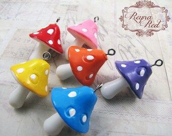 Cute Multicolor Resin Mushroom Pendants, Easter, kitschy, kawaii, cute summer pendant, spring, jewelry making, beads  - reynaredsup