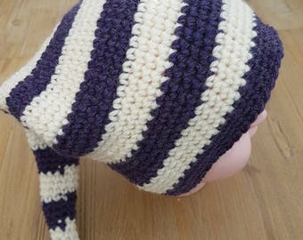 Hat for a sailor Pixie :) in purple and white pure wool
