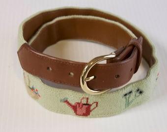 Vintage Unisex Belt - Mint Green Needlepoint Embroidered Leather Belt with Garden Supplies by The Village Ewe