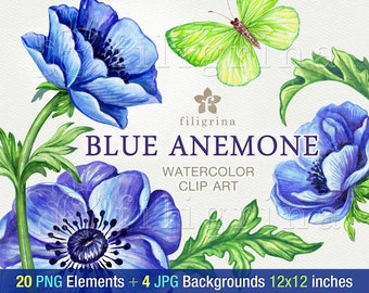 Blue Anemone WATERCOLOR clip art. 20 PNG floral elements 4 digital paper backgrounds. Elegant garden flowers, green leaves. Read about usage