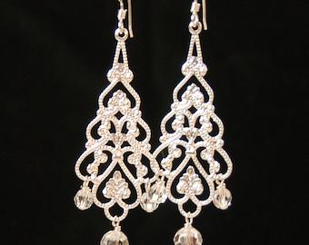 Crystal Chandelier Earrings, Filigree Silver and Clear Crystal Dangle Earrings, Bridal Earrings, Bridesmaid Earring, Long Earring, Dangle