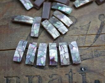 Mosaic Shell Flatback Rectangles Brown lip Shell Rectangle Rhinestone Flatbacks (10) CL39