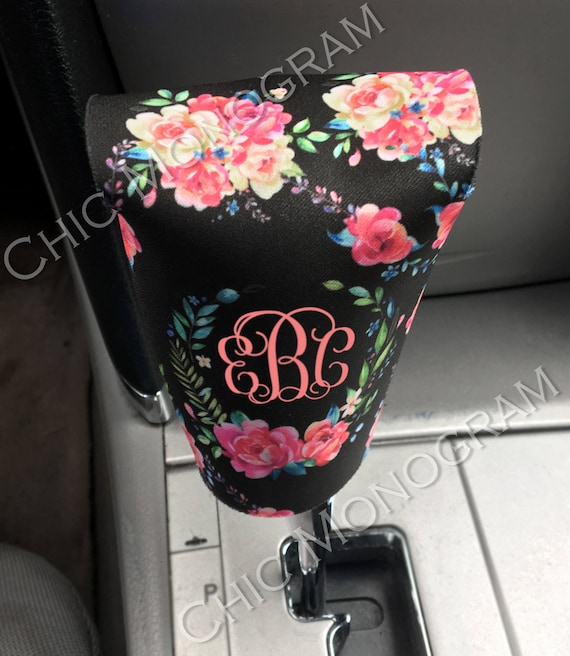Classy Black Floral Gear Shift Cover Car Accessories Gear Shift Knob Cover Floral Monogram Gear Shift Cover Custom Monogram Gear Shifter
