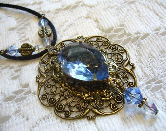 Grandma's Blue Victorian Pendant And Necklace