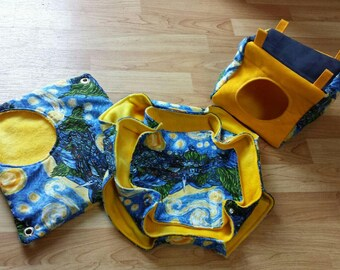 Starry Night Small Animal Hammock Set. Including Honeycomb Hammock, Plush Pocket and Cube.