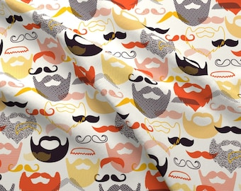 Beard + Mustache Fabric - Modstache And Beards By Katerhees - Mod Scandi Beard Cotton Fabric By The Yard With Spoonflower