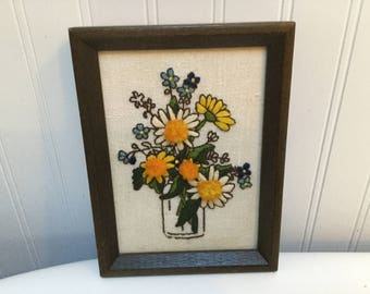 Vintage Needlepoint Daisies in a Fruit Jar Framed