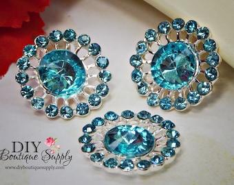Aqua Blue Crystal buttons Rhinestone Buttons  Embellishment flatback Baby Headband Supplies Hair Bow flower Flower centers 24mm 924040