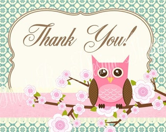 Owl Thank You Card, Owl Baby Shower, Owl Thank You Note