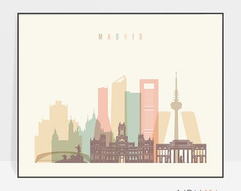 Madrid art print, Madrid poster, Madrid skyline wall art, Spain cityscape, Travel poster, Home Decor, Gift, ArtPrintsVicky