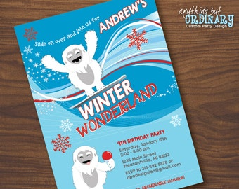 Abominable Snowman Birthday Invitation, Winter Wonderland Party Invite, printable digital file