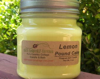 LEMON POUND CAKE Soy Candle - Lemon Candles, Vanilla Candles, Lemon Soy Candles, Vanilla Soy Candles, Scented Soy Candles, Bakery Candles