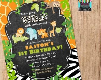 JUNGLE CHALKBOARD baby shower/birthday invitation - You Print