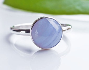 Blue Lace Agate Ring - Stacking Ring - Sterling SIlver