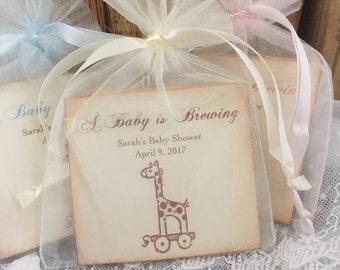 Giraffe Baby Shower Favors Tea Bag Favors Baby is Brewing Set of 10