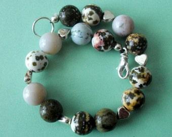 Gemstone Jewelry Bracelet - Tree Agate and Sterling Silver Gemstone Beaded Bracelet