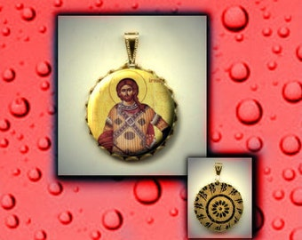 St Artemius of Antioch Orthodox Saint icon hand pressed flat button CABOCHON in Brass Charm / Pendant