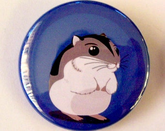 Cartoon Hamster Pinback Button