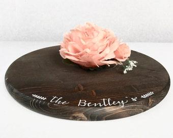 "18"" Custom Rustic Cake Stand - Round Wedding Cake Stand - Rustic Wedding Decor"