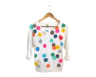 Colorful Confetti Sweatshirt - Oversized Lightweight Jersey Pullover Sweater in Heather Oatmeal & Rainbow Dots - Women's Size S-2XL