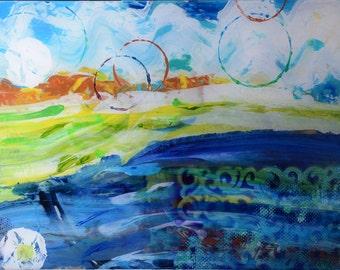 Modern abstract landscape acrylic painting on plexiglass