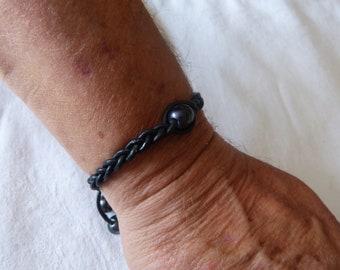 leather, pearls, leather bracelet men bracelet braided 3 strands