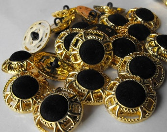 10 Gold Wire with Black Velvet Shank Buttons Size 13/16""